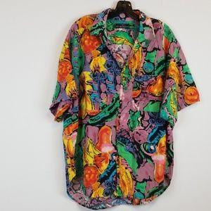 Guess colorful print men's button down shirt